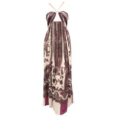 ROBERTO CAVALLI silk paisley printed metallic floor length gown - new