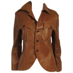 1990s Ralph Lauren Cropped Brown Lamb Leather Canfield Jacket Coat