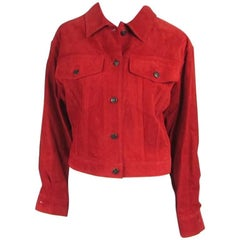 1990s Red Suede Gucci Denim cut style Jacket