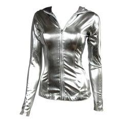 1980s Norma Kamali Silver Metallic Hoodie Jacket