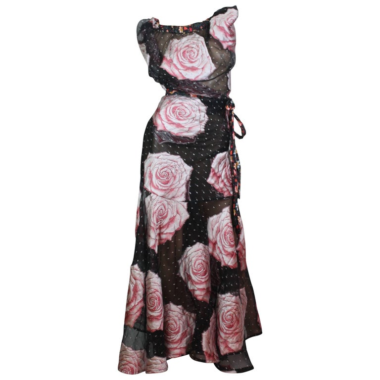 Vivienne Westwood Gold Label Glenn Dress with Rose Print, A / W 2015  Size I For Sale