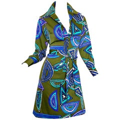 1970s Lanvin Olive Green + Blue Abstract Print Long Sleeve 70s Silk Shirt Dress