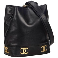 "Chanel Black Lambskin Leather Gold Toned ""CC"" Bucket Bag"