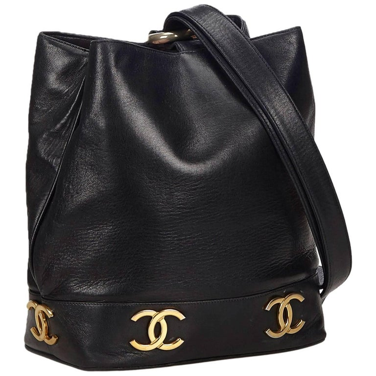 "Chanel Black Lambskin Leather Gold Toned ""CC"" Bucket Bag For Sale"