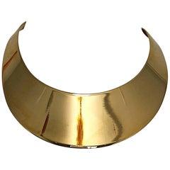 Vintage R.J Graziano Gold Striking Space Age Bold 80s Bib Collar Choker Necklace