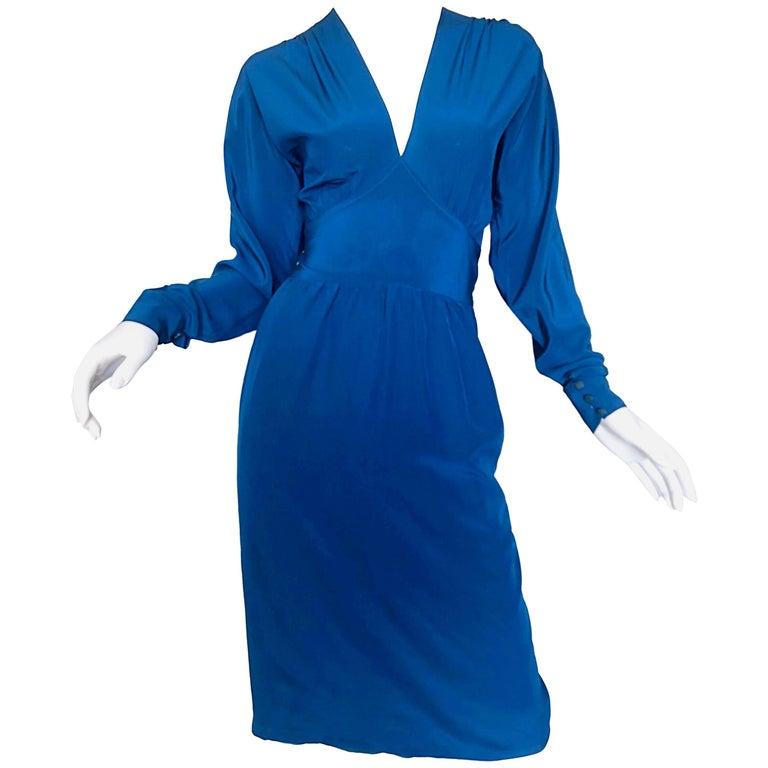 Alan Austin 1970s Cerulean Blue Italian Open Back Long Sleeve Vintage SIlk Dress