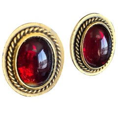 Vintage Yves Saint Laurent YSL Ruby Red Gripoix Gold Round Clip On Earrings