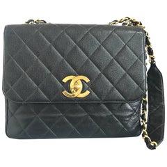 Vintage Chanel classic large black caviar leather 2.55 square chain shoulder bag