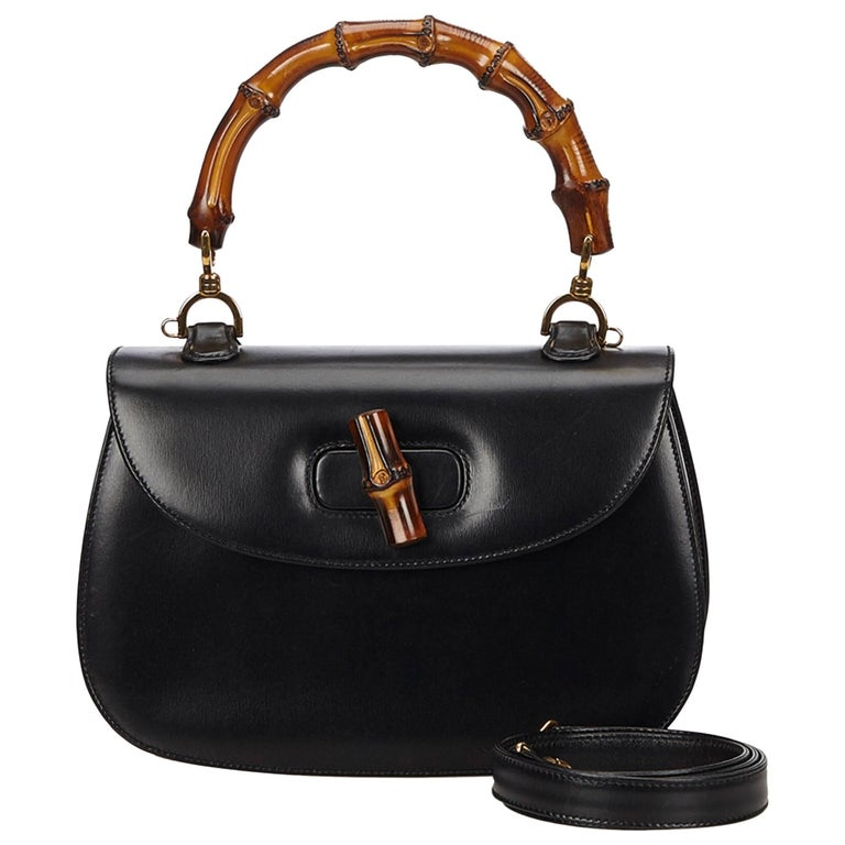 Gucci Black Leather Bamboo Handle Bag with detachable shoulder strap  For Sale