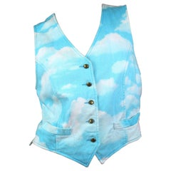 Moschino Jeans Cloud Print Light Blue Vest with Gold Hardware