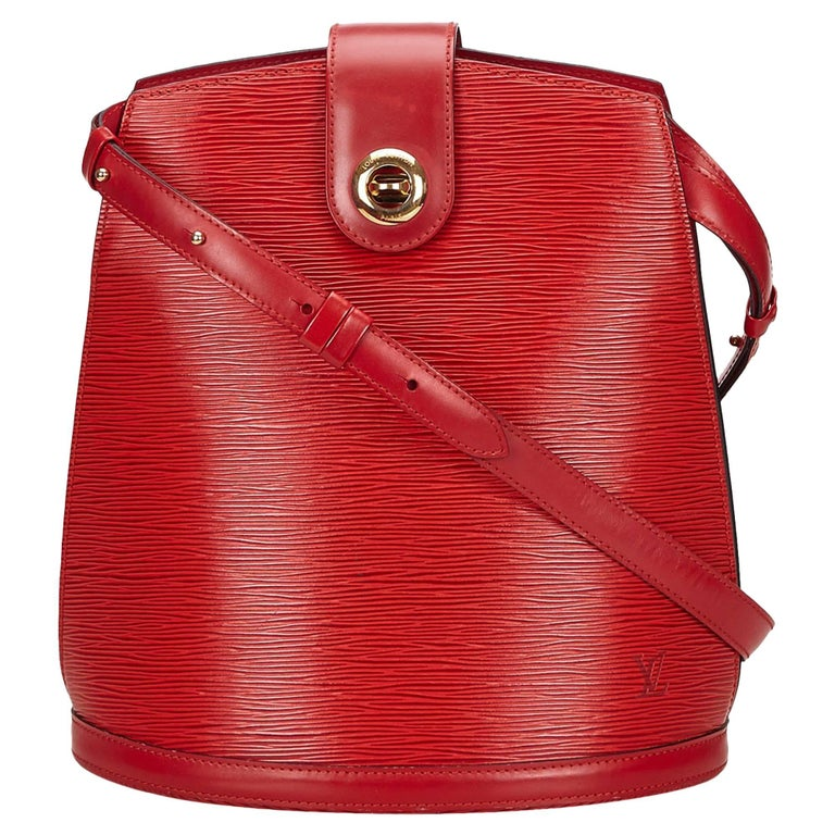 Louis Vuitton Red Epi Leather Cluny Shoulder Bag For Sale