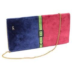 Roberta di Camerino Bag Evening Velvet Vintage Red Blue
