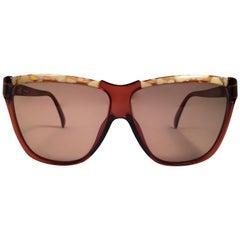 New Vintage Viennaline Brown Translucent Oversized Sunglasses Germany 1980