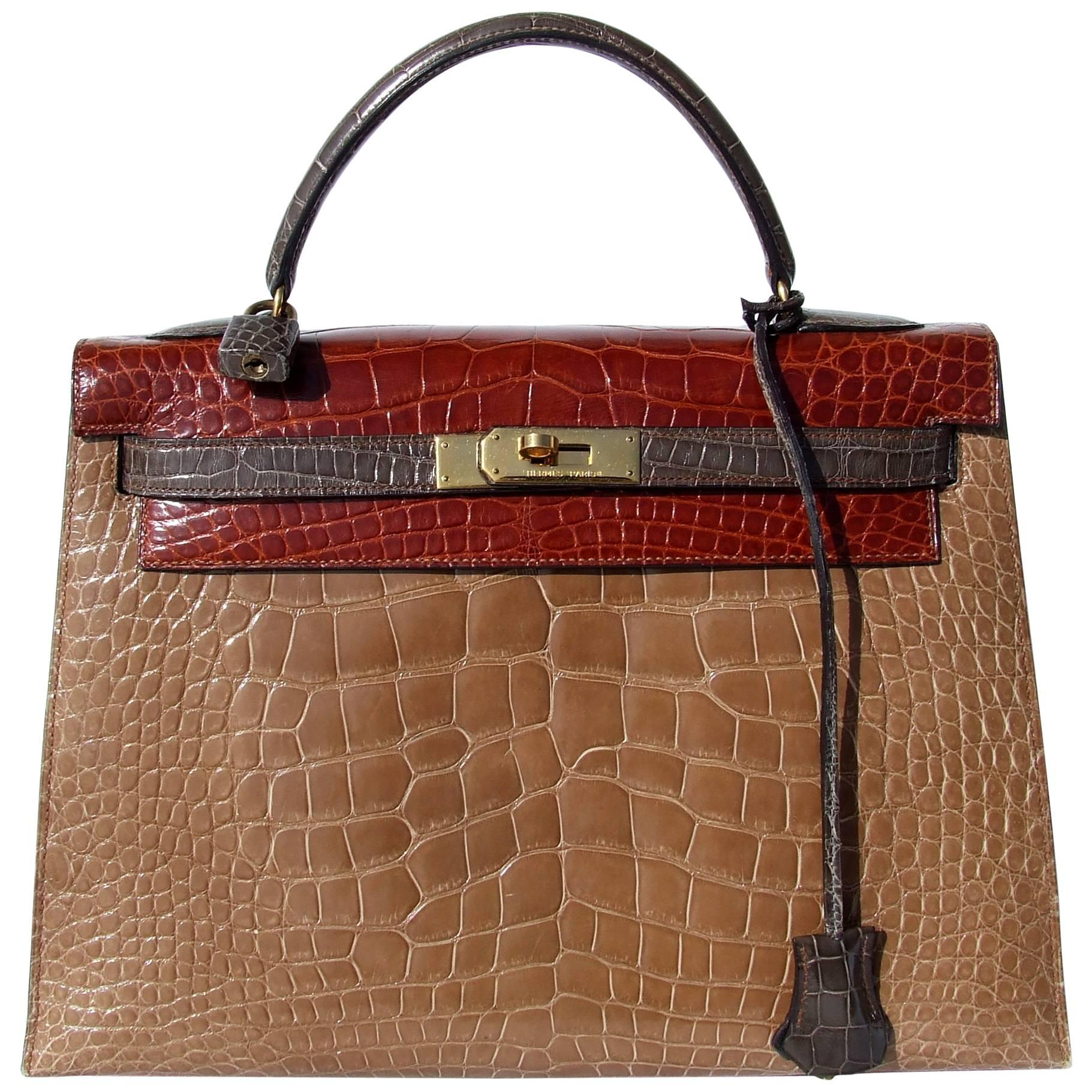 Exceptional Hermès Kelly Bag Tricolor Alligator Ghw 32 cm RARE Exc Cond