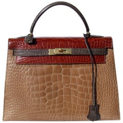 Hermes Kelly 32 Sellier Bag Tricolor Ficelle Etrusque Gris Alligator Ghw  Ltd