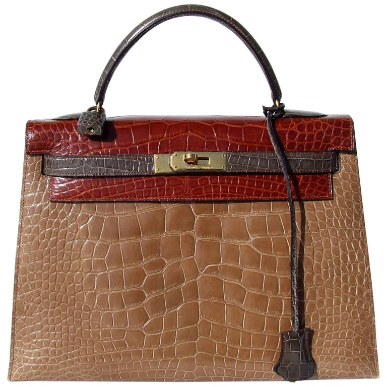 Hermes Kelly 32 Sellier Tricolor Beige Cognac Grey Alligator Crocodile GHW Bag