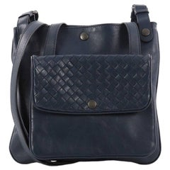 Bottega Veneta Front Pocket Messenger Bag Leather with Intrecciato Detail Small