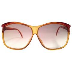 New Vintage Viennaline Amber Translucent Oversized Sunglasses Germany 1980