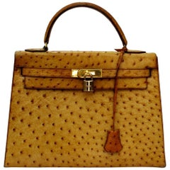 Hermes Kelly Bag Ostrich Leather 32cm