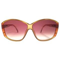 New Vintage Viennaline 1302 Translucent Amber Oversized Sunglasses Germany 1980