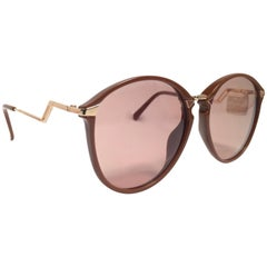 Viennaline 1395 Vintage Mocha and Gold Oval Sunglasses, Germany 1980s