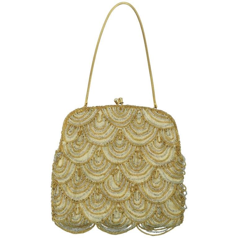 C.1960 Walborg Art Deco Style Gold Beaded Handbag
