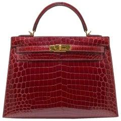 Hermès Crocodile Kelly 32 Rouge