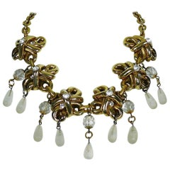 Claire Deve Vintage Gold Tone Jewelled Necklace with Glass Drops