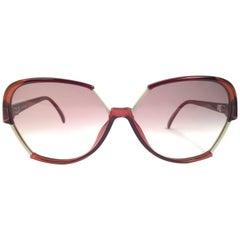 New Vintage Viennaline 1304 Dark Translucent Oversized Sunglasses Germany 1980