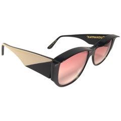 "Mint Vintage Ultra "" Katmandu "" Sleek Black  British Hand Made 1980's Sunglasse"