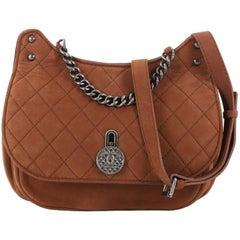 Chanel Turnlock Flap Messenger Bag Quilted Nubuck Medium
