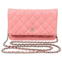 Chanel Pink Leather WOC Wallet on a Chain- Silver Hardware