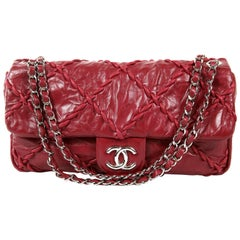 Chanel Red Calfskin Ultra Stitch Flap Bag- Large