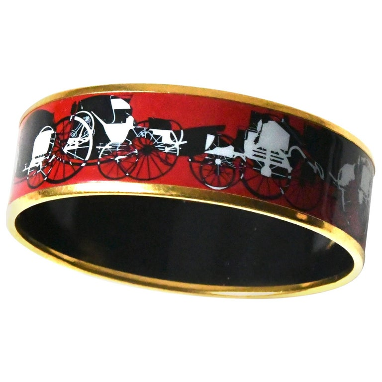 Hermes Red Enamel Bracelet For