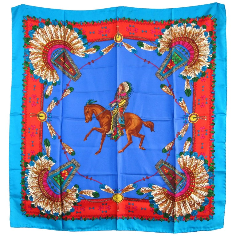 1990s Gucci Silk Scarf Indian Chief Motif New Never worn