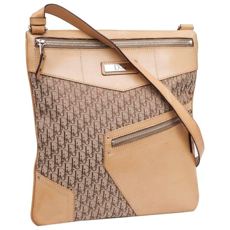 DIOR Bag in Beige Monogram Canvas and Leather