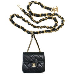 Chanel Vintage black lambskin mini 2.55 bag charm chain leather belt with CC