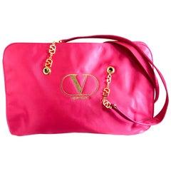 Vintage Valentino Garavani pink satin large tote with gold tone V  logo straps.