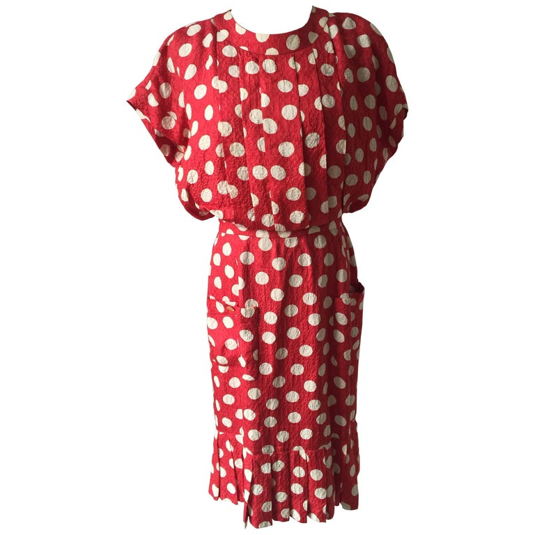 Chanel Red Polkadot Dress Small