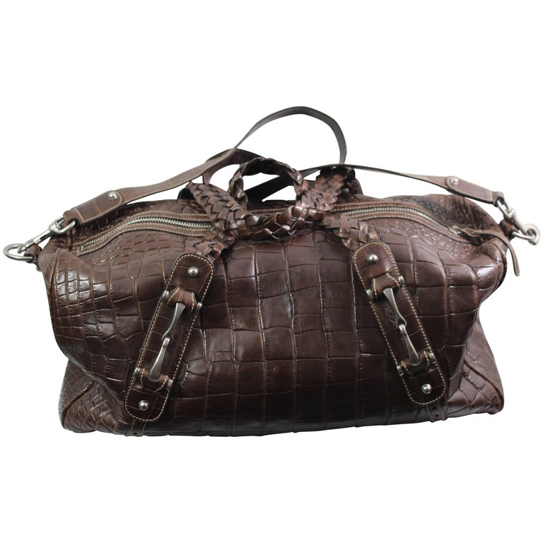 New 2007 Gucci Men's Cocco Nappato crocodile Travel Bag with Detachable Strap