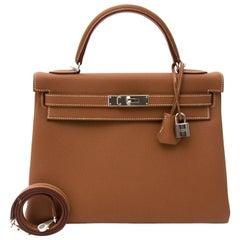 Hermes 32 Togo Gold PHW Kelly Bag