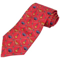 C.1990 Lynn Chase Tiger Motif Men's Silk Necktie