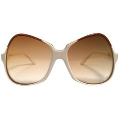 New Vintage Emilio Pucci Beige & Mocca Oversized  Sunglasses France