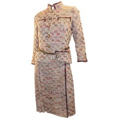 Chanel Haute Couture 4 piece suit with belt from Chanel Paris boutique, 1972