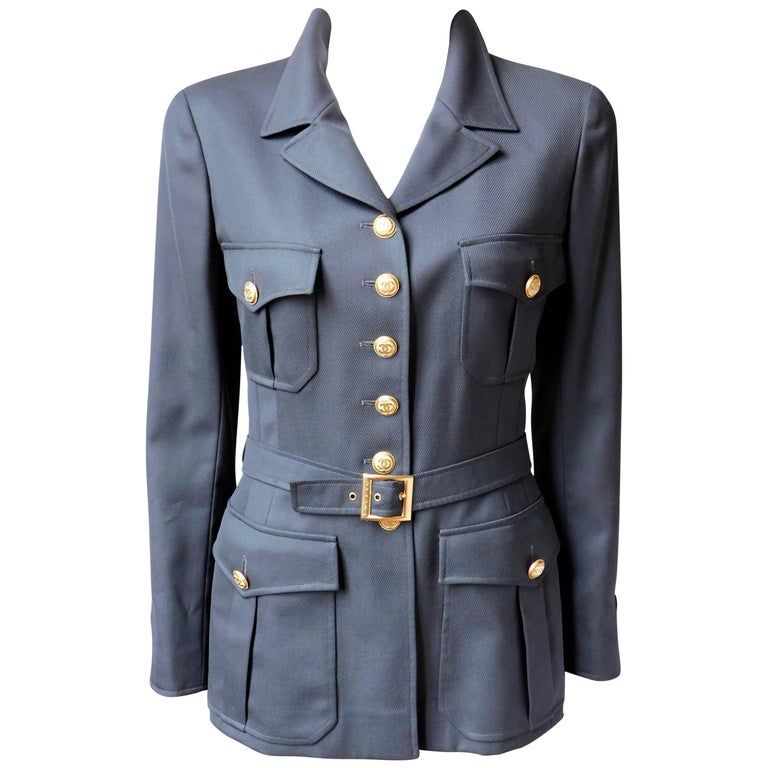 Chanel Gabardine Military Style Jacket with 16 Gold Buttons
