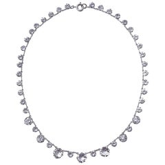 Art Deco Silver Tone and Open Back Clear Crystal Necklace