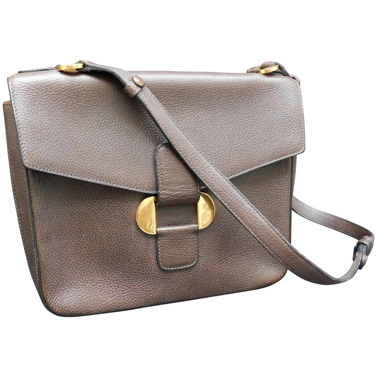 Delvaux Brown Leather Crossbody Handbag  For Sale