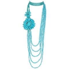 Bleu turquoise beaded boho style opera length necklace