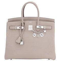 Hermes Gris Asphalte Dove Grey Togo Palladium Asphalt Birkin 35 Bag