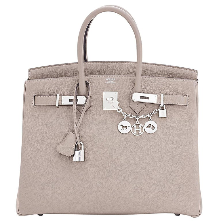 Hermes Gris Asphalte Dove Grey Togo Palladium Asphalt Birkin 35 Bag For Sale